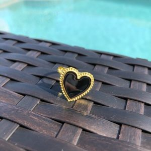Black And Gold Heart Adjustable Ring NWT